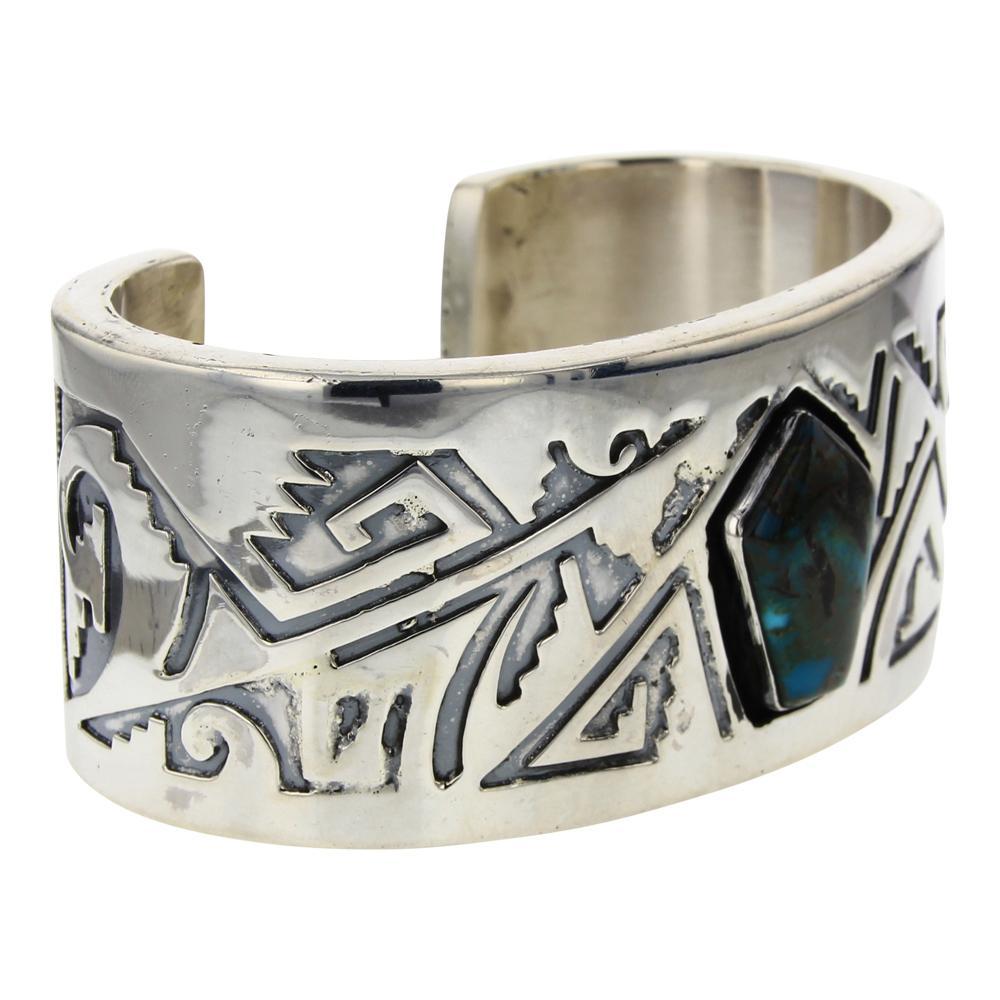 Randy Billy Nevada Turquoise Large Geometric Overlay Cuff Bracelet