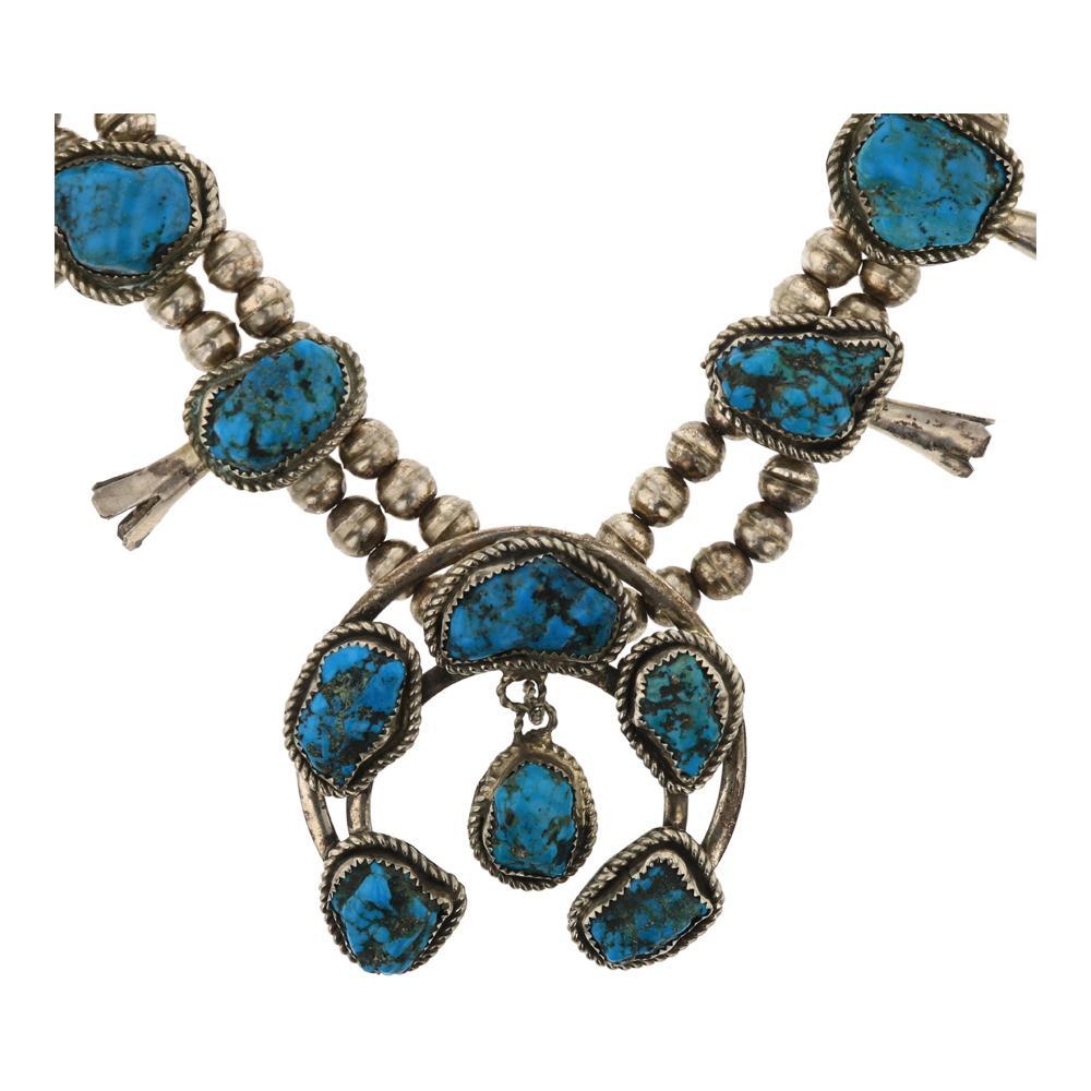 Vintage Pawn Seafoam Nugget Turquoise Squash Blossom Necklace