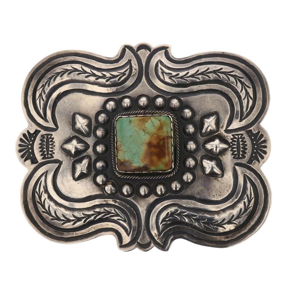 Thomas Nez Menassa Turquoise Detailed Stamp Belt Buckle