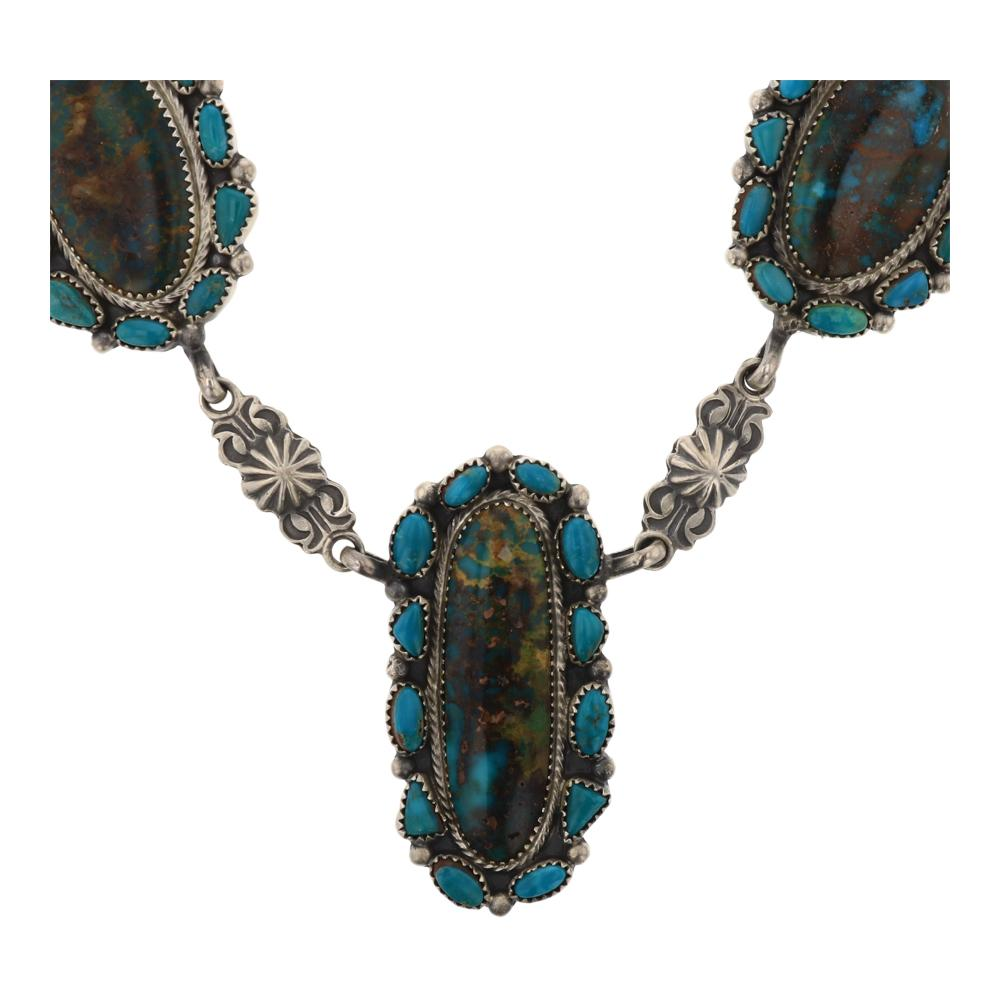 RB Fox Turquoise Cluster Necklace