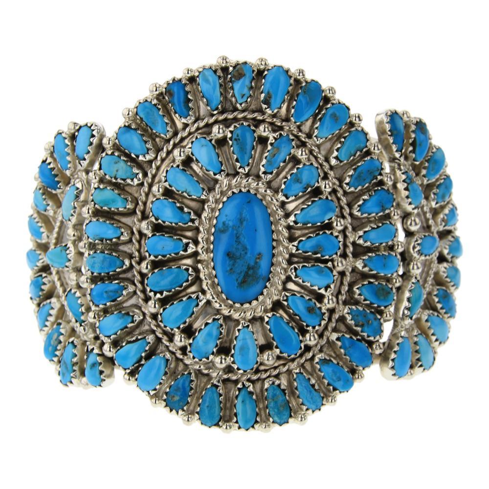 Vintage Sleeping Beauty Turquoise Traditional Cluster Bracelet