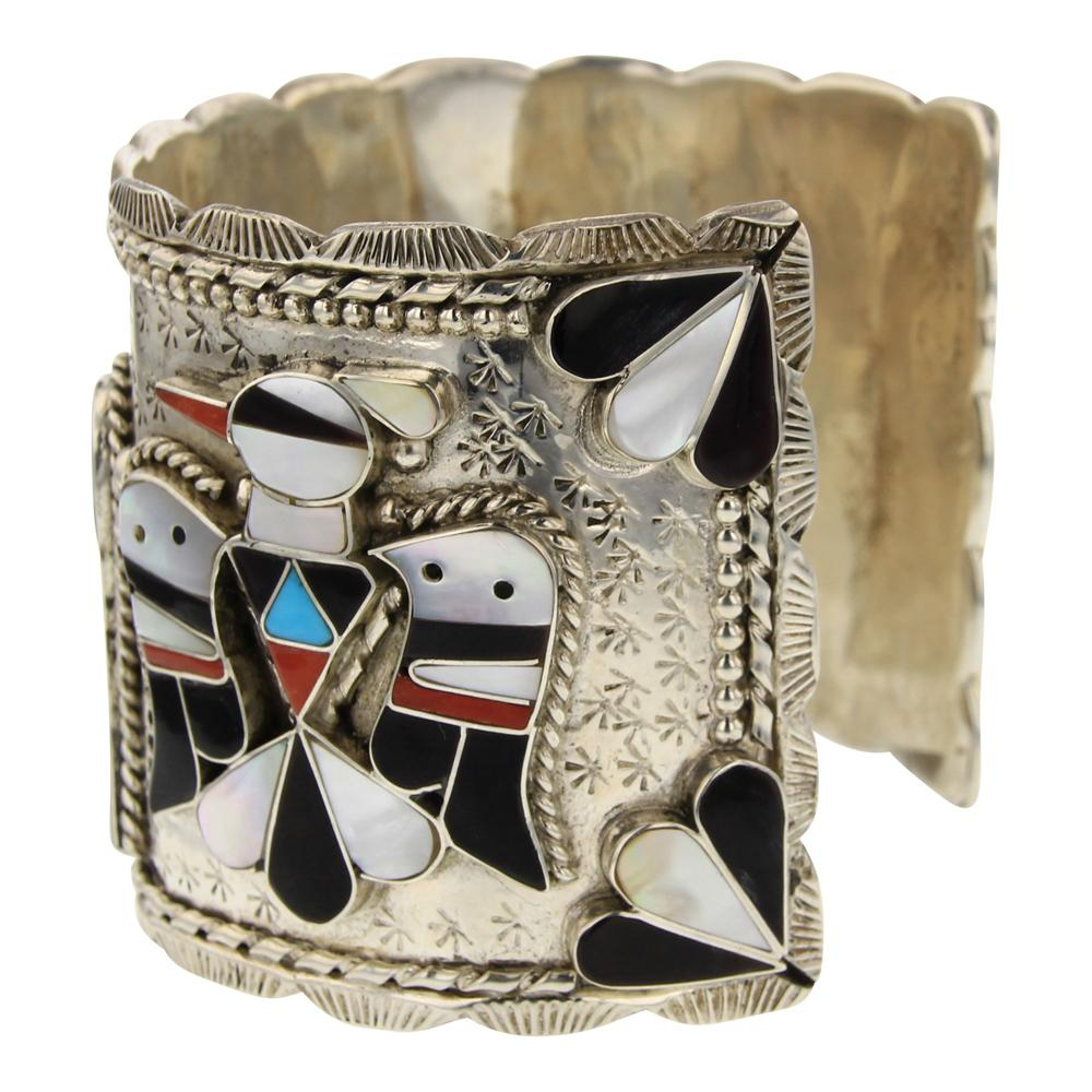Bobby Shack Zuni Mother of Pearl Black Jet Coral & Turquoise Thunderbird Cuff