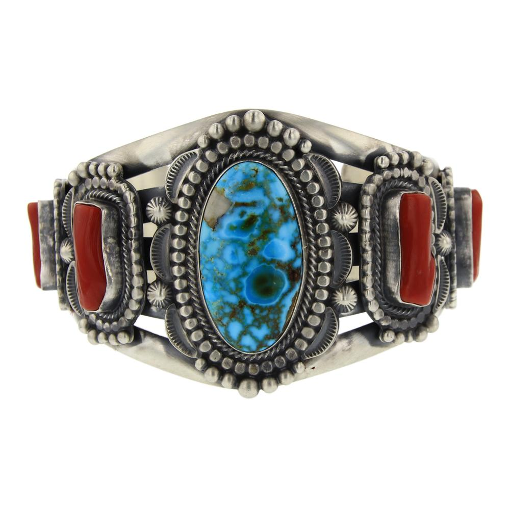Tom Lewis High Grade Turquoise Mountain & Branch Coral Cuff Bracelet