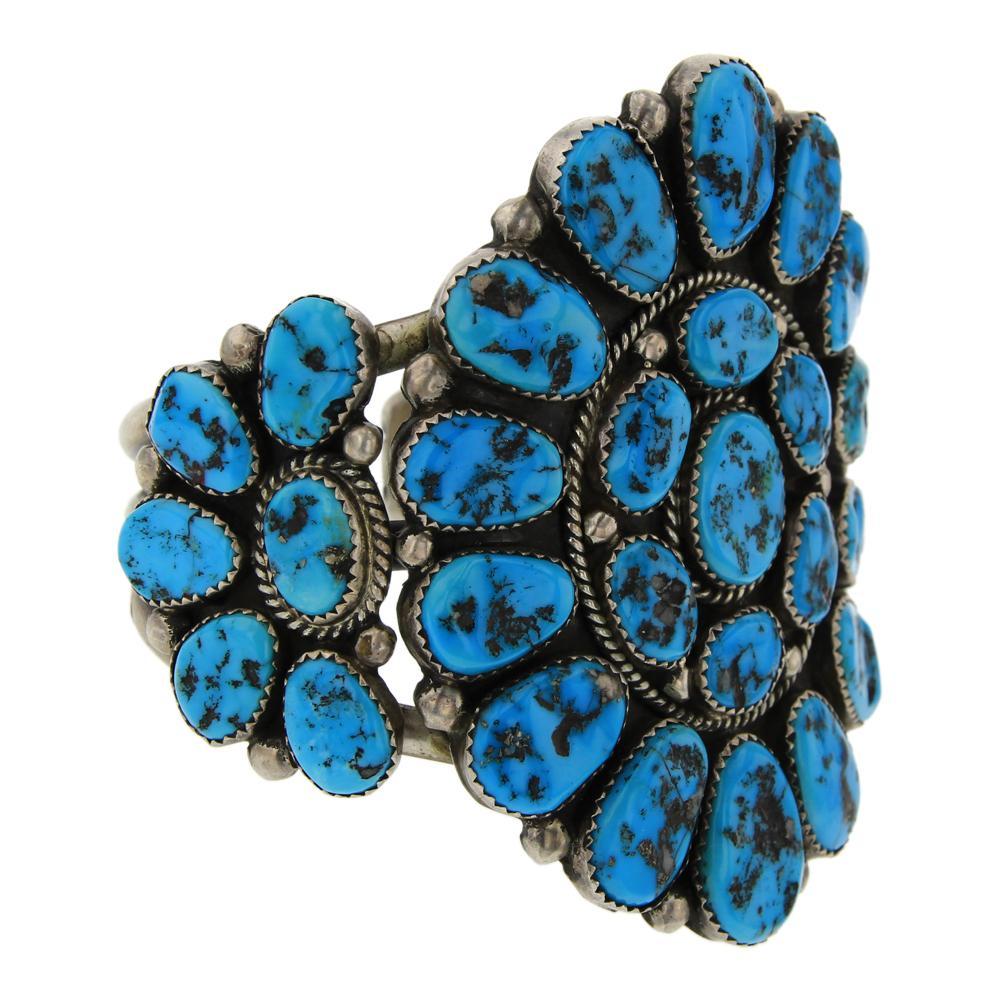 Old Pawn Henry Roanhorse Sleeping Beauty Turquoise Cluster Bracelet
