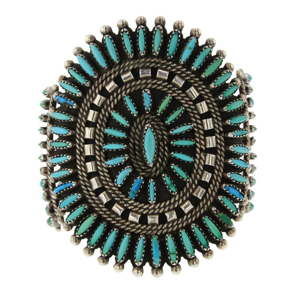 Old Pawn Turquoise Needlepoint Cluster Cuff Bracelet