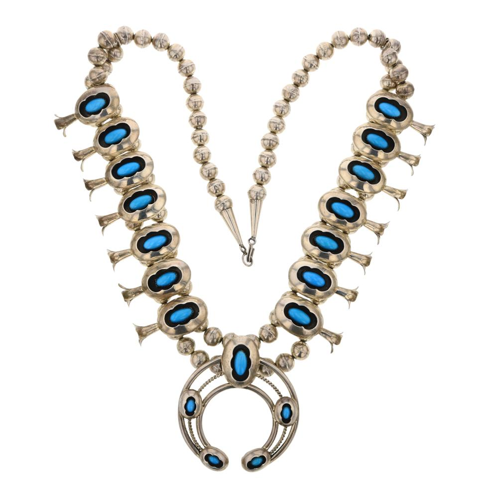 Vintage Sleeping Beauty Turquoise Shadowbox Squash Blossom Necklace