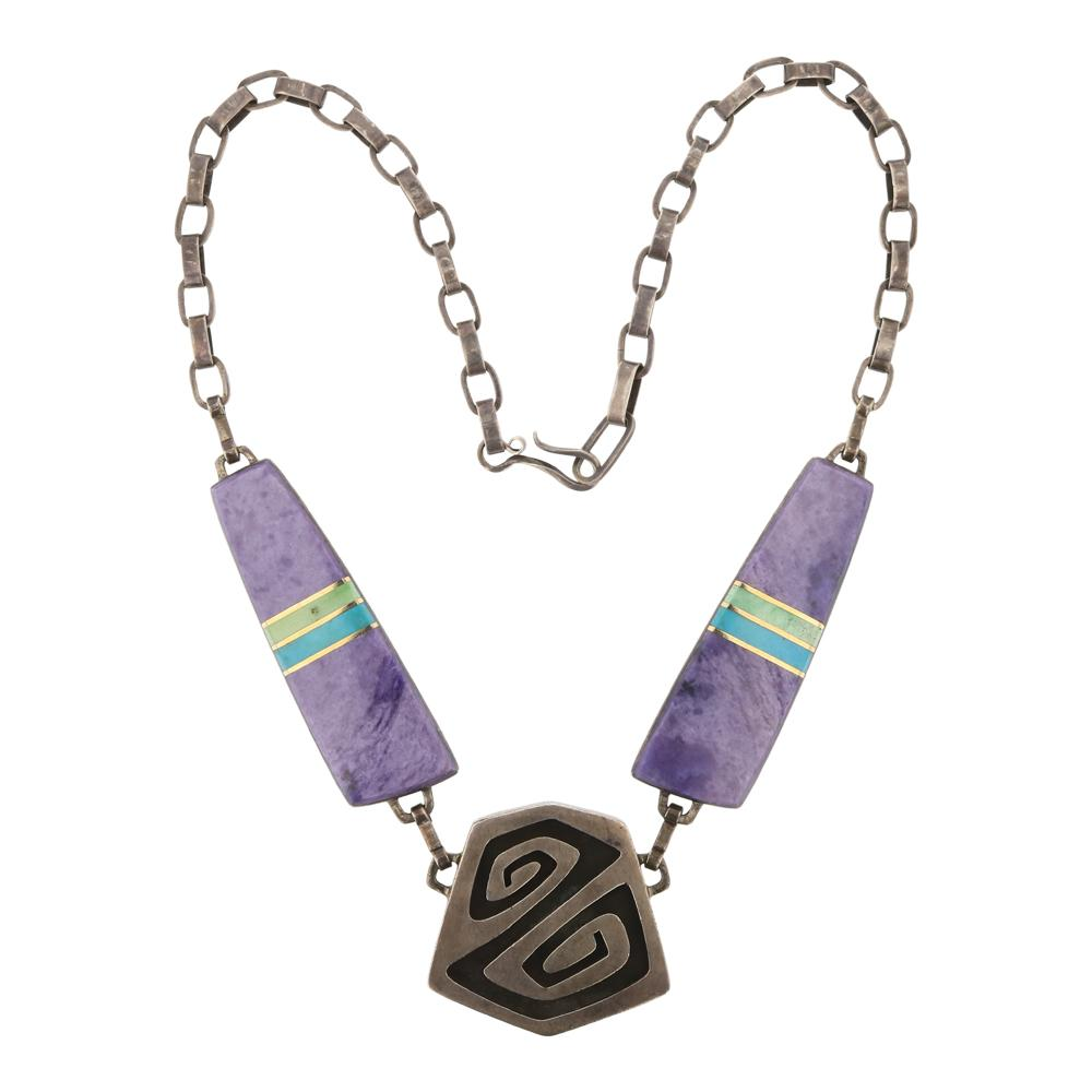 Turquoise & Charoite Contemporary Design Reversible Necklace