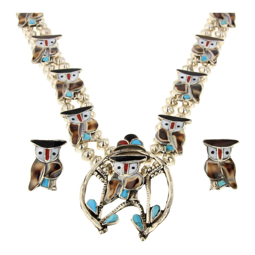 Pitkin Natewa Zuni Turquoise Coral & Shell Owl Blossom Necklace