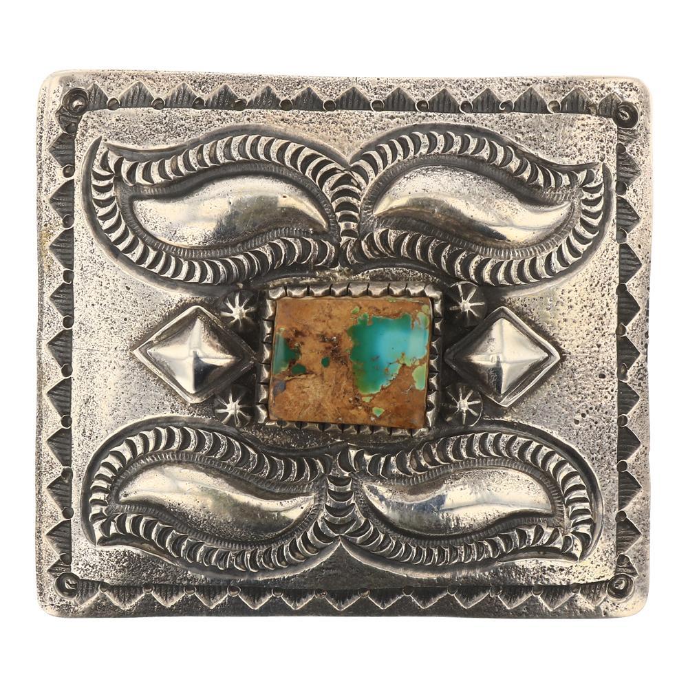 Myron Etsitty Royston Turquoise Heavy Stamp Belt Buckle