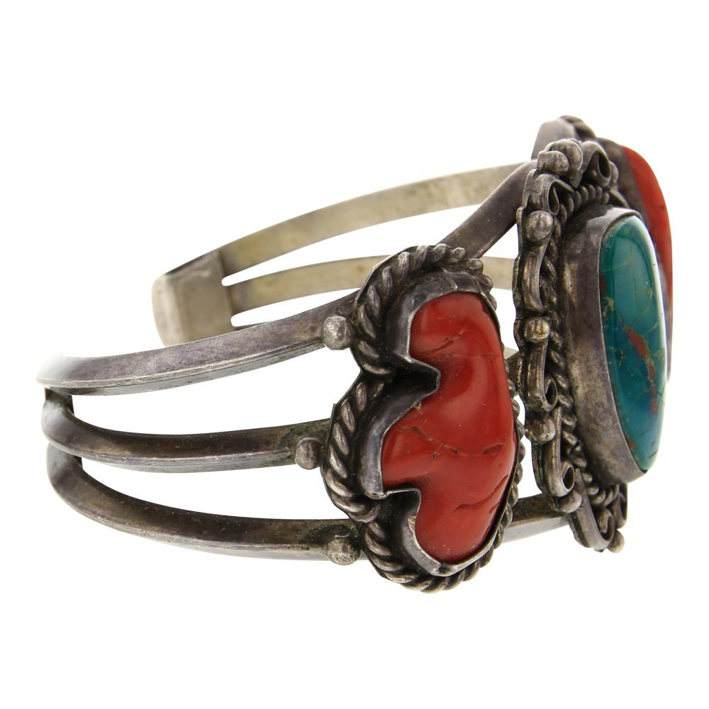 Old Pawn Turquoise & Branch Coral Bracelet