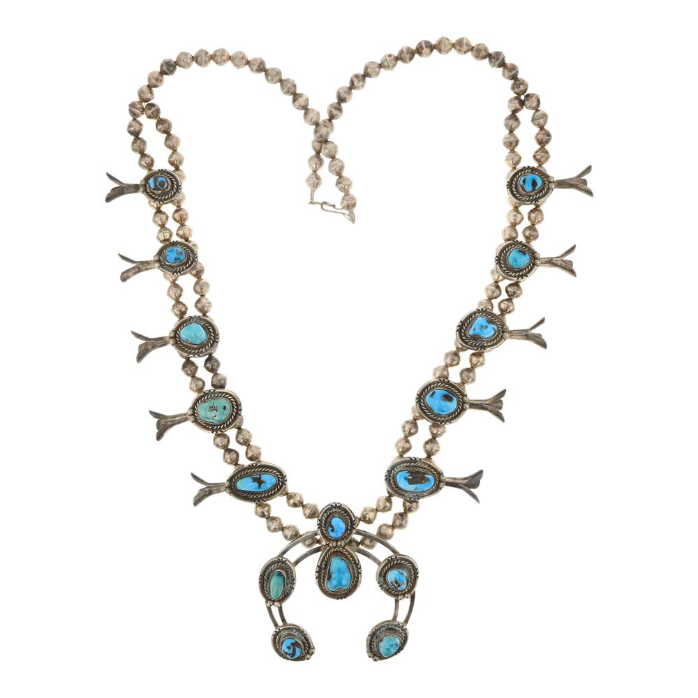 Vintage Traditional Turquoise Squash Blossom Necklace