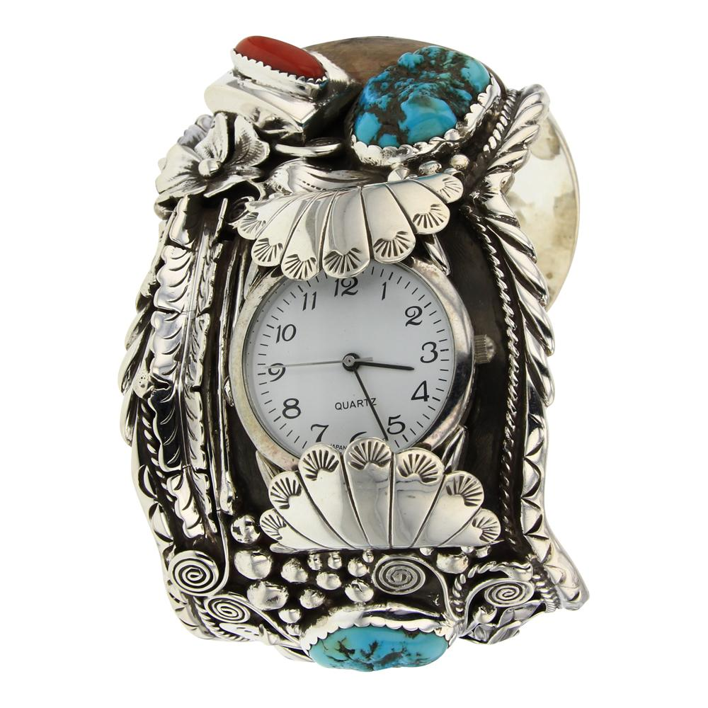 Turquoise & Coral Bear Claw Large Leaf Work Watch Bracelet