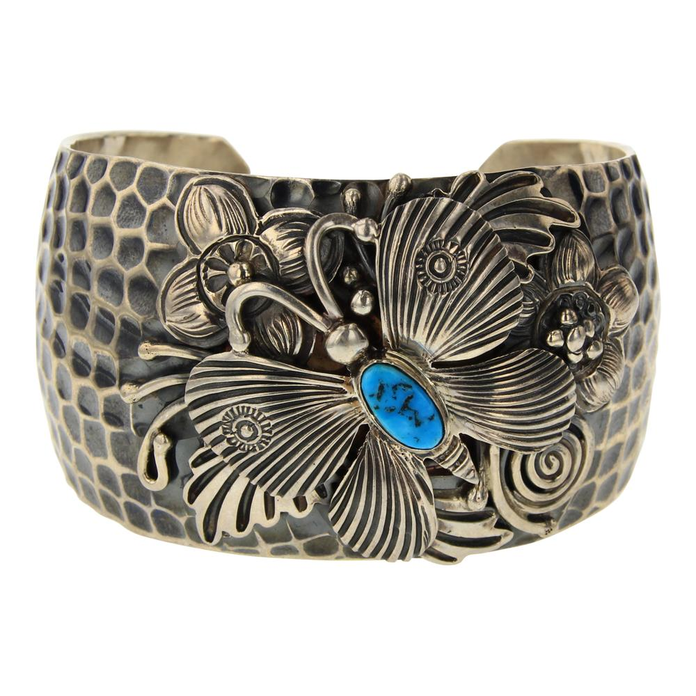 Lee Charlie Turquoise Hammered Cuff Butterfly Contemporary Design Bracelet