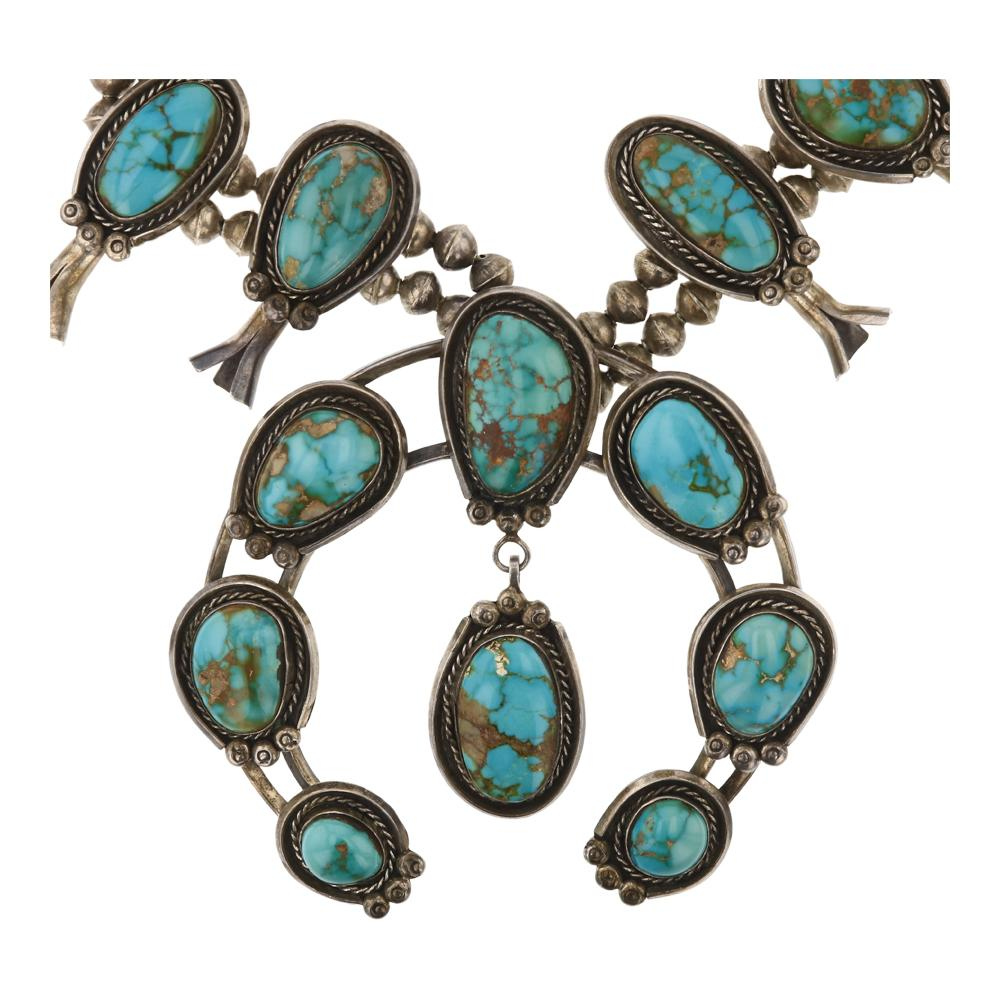 Old Pawn Royston Turquoise Large Squash Blossom Necklace