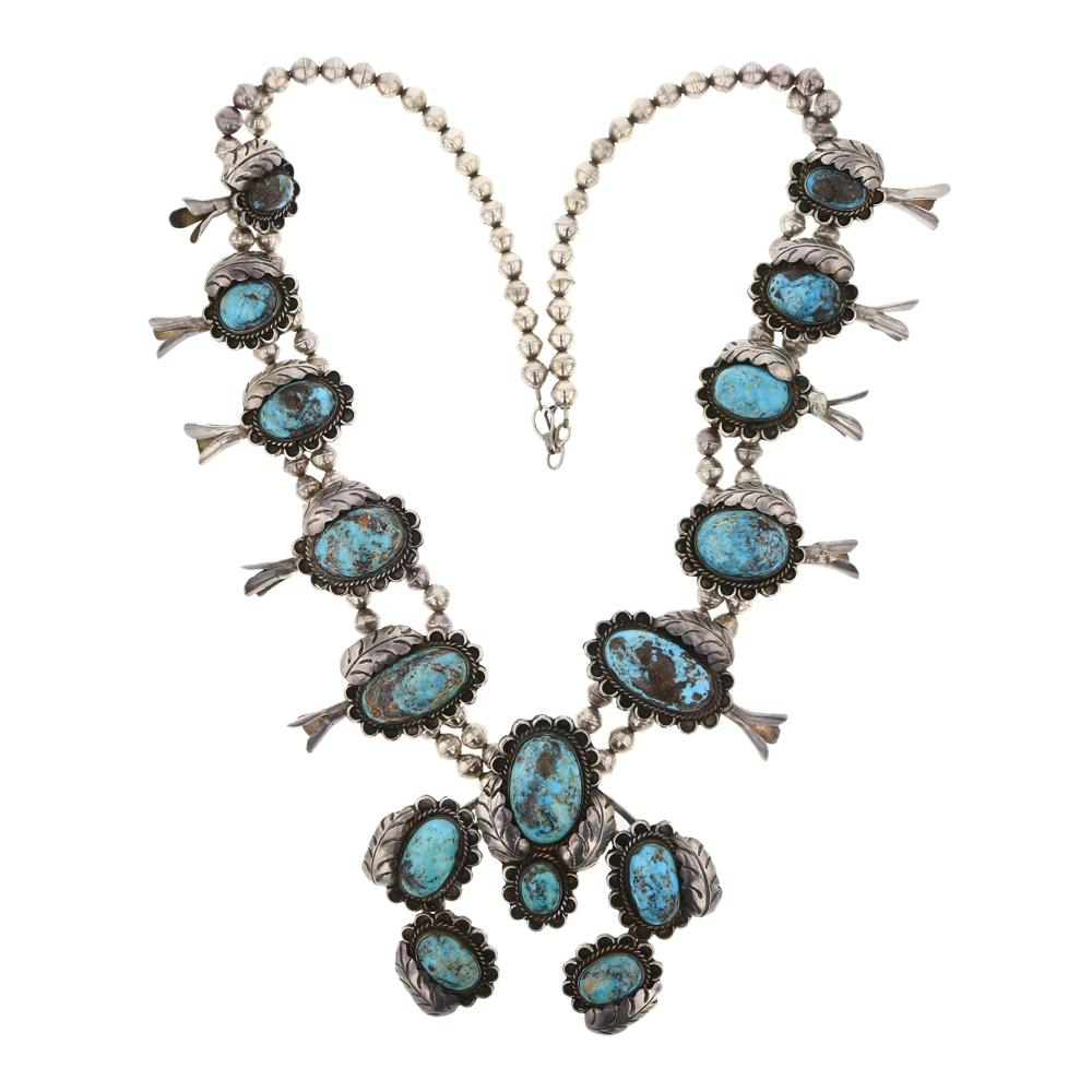 Old Pawn Turquoise Leaf work Large Squash Blossom Necklace
