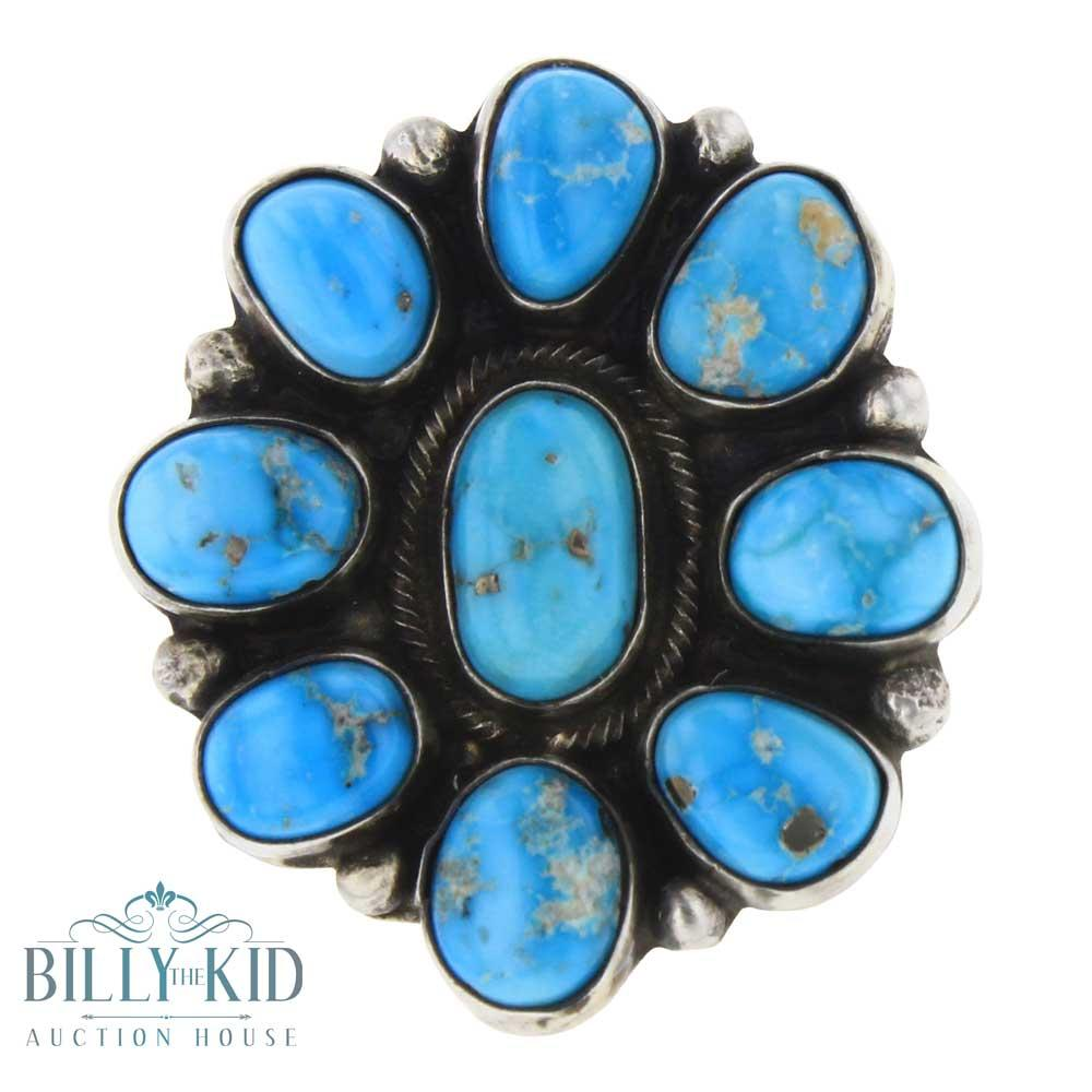 Lot - Ella Peters Blue Bird Turquoise Cluster Ring