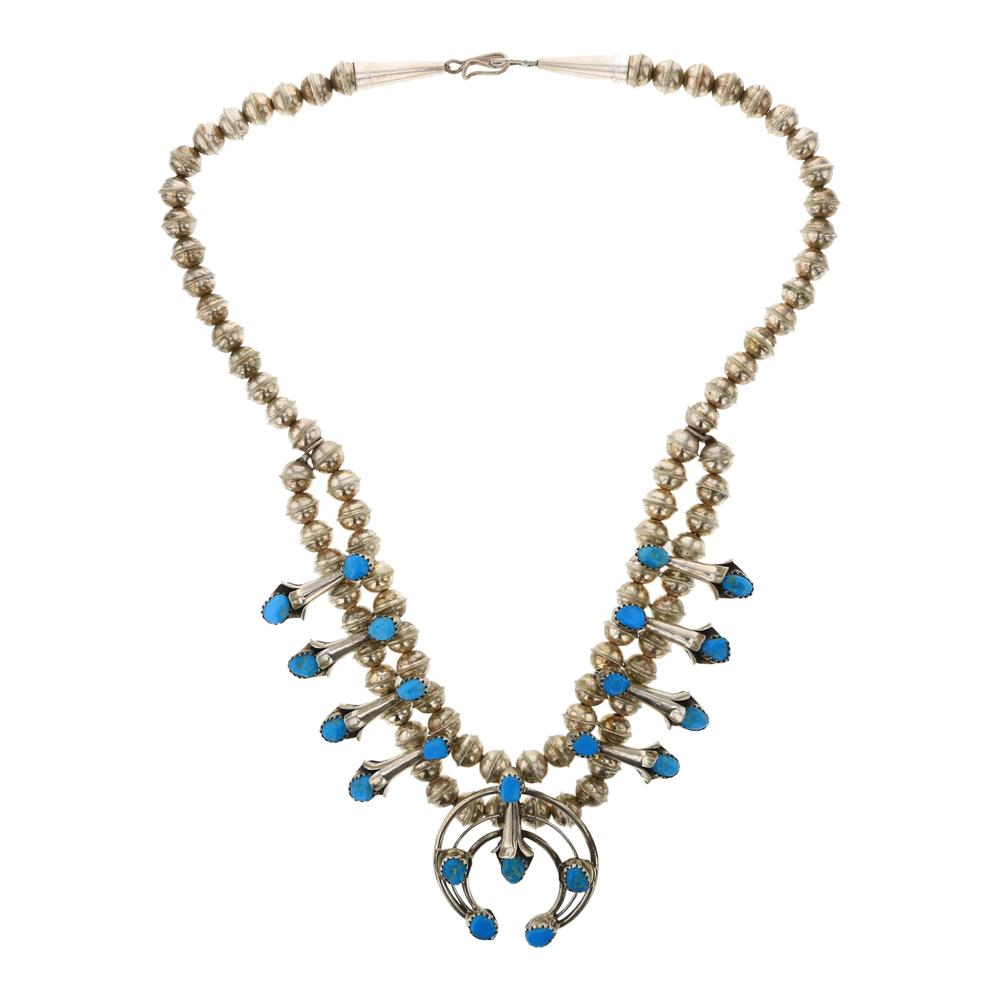 Vintage Turquoise Small Squash Blossom Necklace