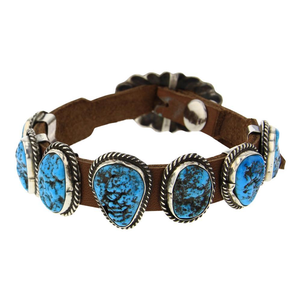 Kingman Nugget Turquoise Leather Bracelet
