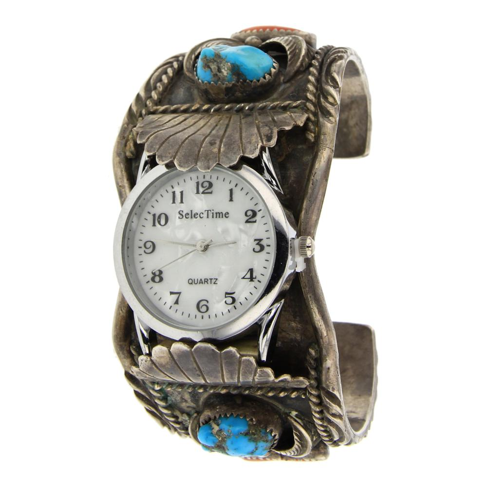 Old Pawn Turquoise Coral & Mother of Pearl Watch Cuff Bracelet