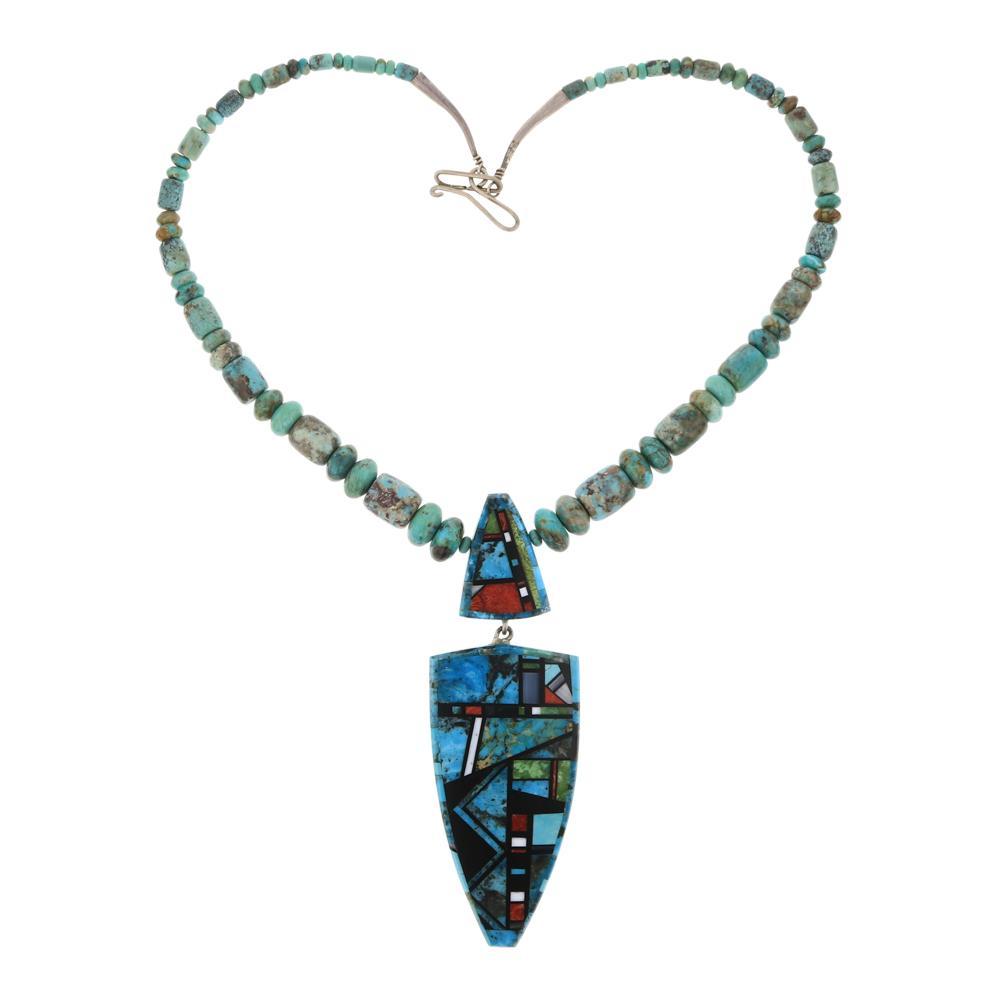 Santo Domingo Pueblo Turquoise Coral Shell Necklace
