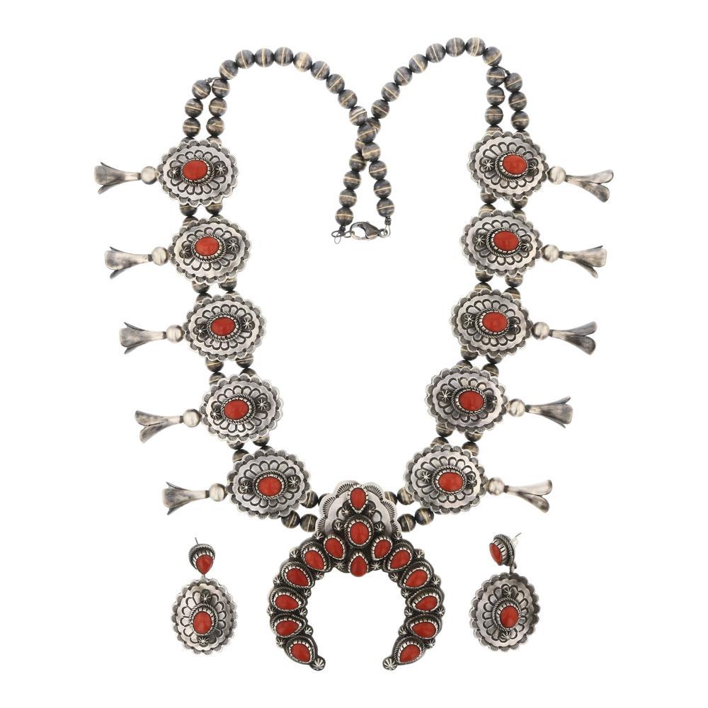 Ray Bennett Mediterranean Coral Squash Blossom Necklace