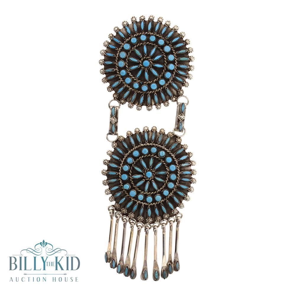 D&M Chavez Sleeping Beauty Turquoise Needlepoint Cluster Pendant