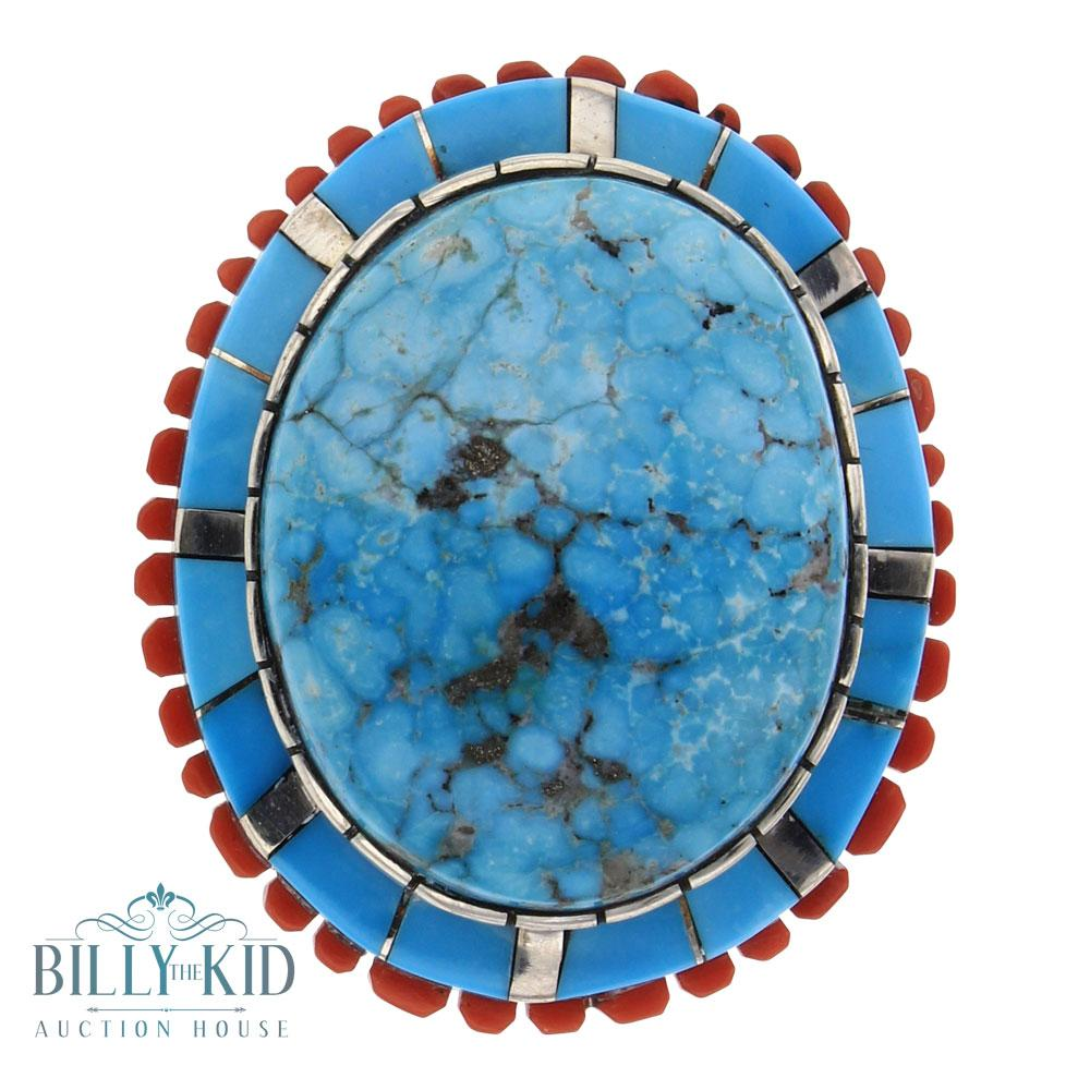 Merle House Kingman Turquoise & Coral Ring.
