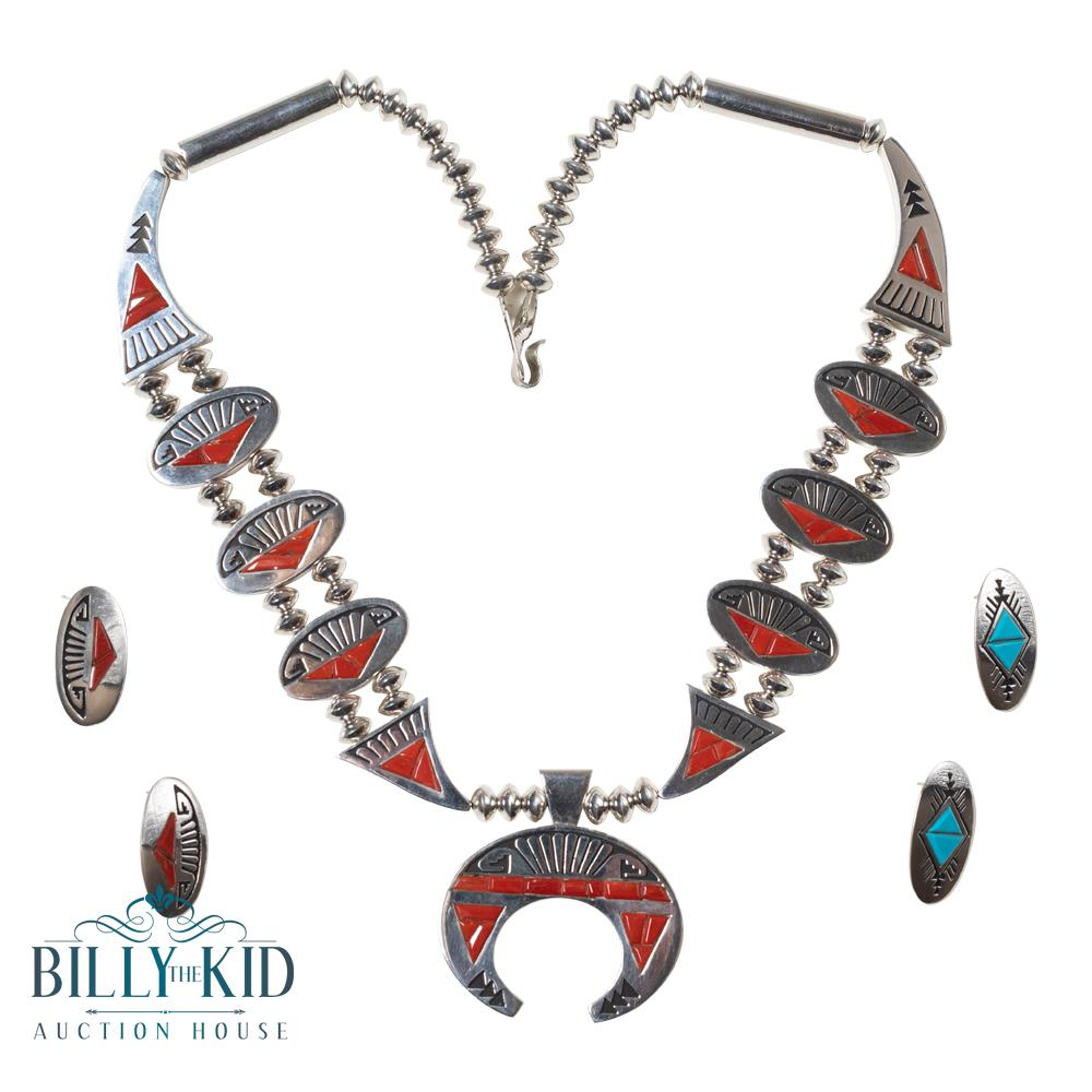 Alvin & Lula Begay Sleeping Beauty Turquoise & Mediterranean Coral Reversible Two Sided Squash Blossom Necklace & Two Earrings Set