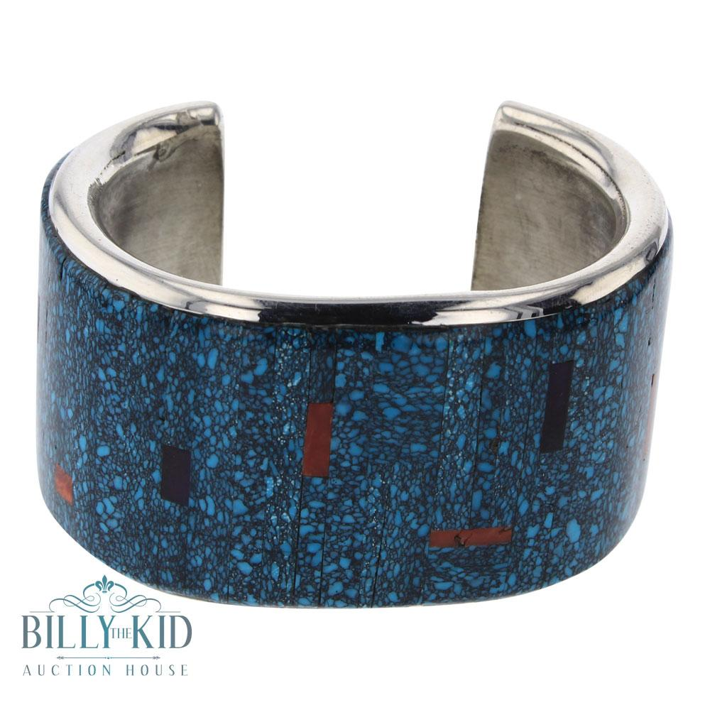 Mark Yazzie Turquoise Coral & lapis Inlay Wide Cuff Bracelet