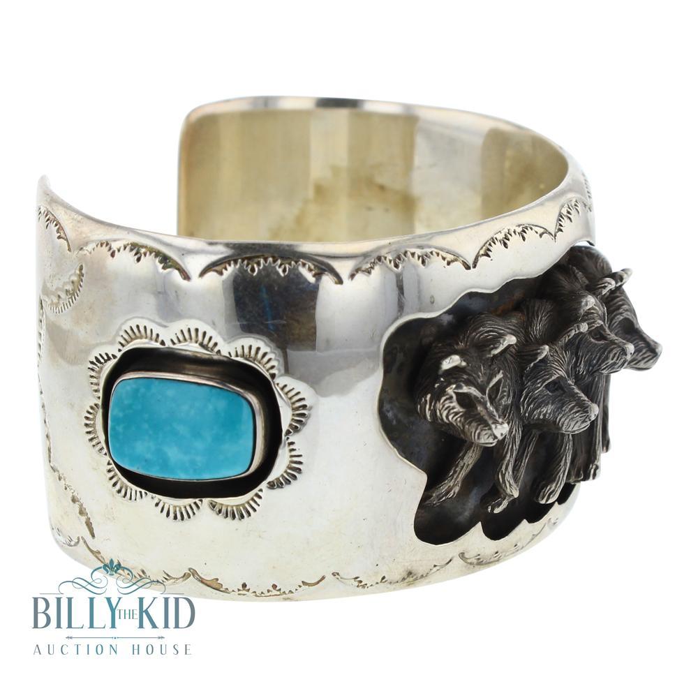 Kingman Turquoise Wolf Pack Shadow Box Wide Cuff Bracelet