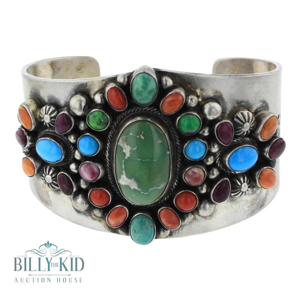 Kathleen Chavez Mixed Stones Calibrated Cluster Wide Cuff Bracelet