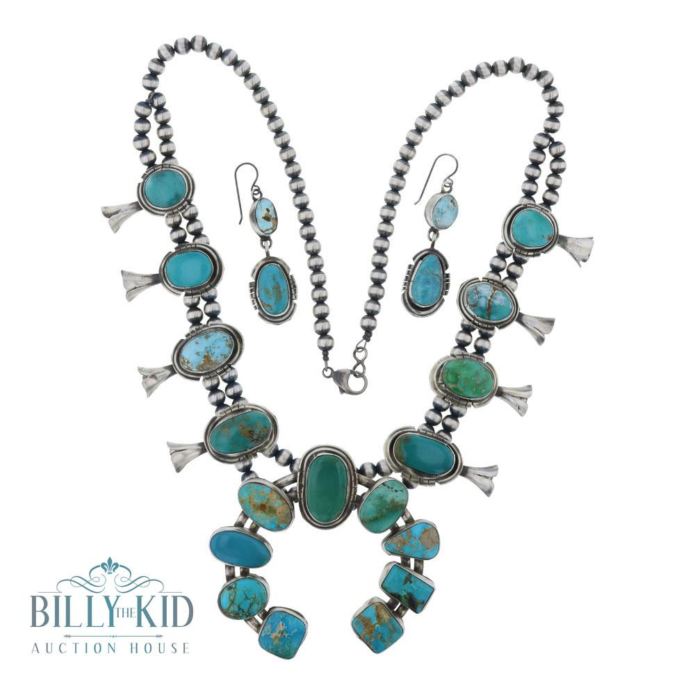 Lydia Begay Mixed Nevada Turquoise Squash Blossom Necklace