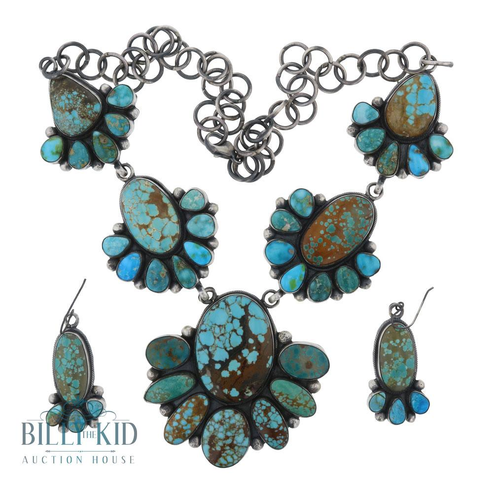 Beatty Tom Number Eight Turquoise Necklace & Earrings Set