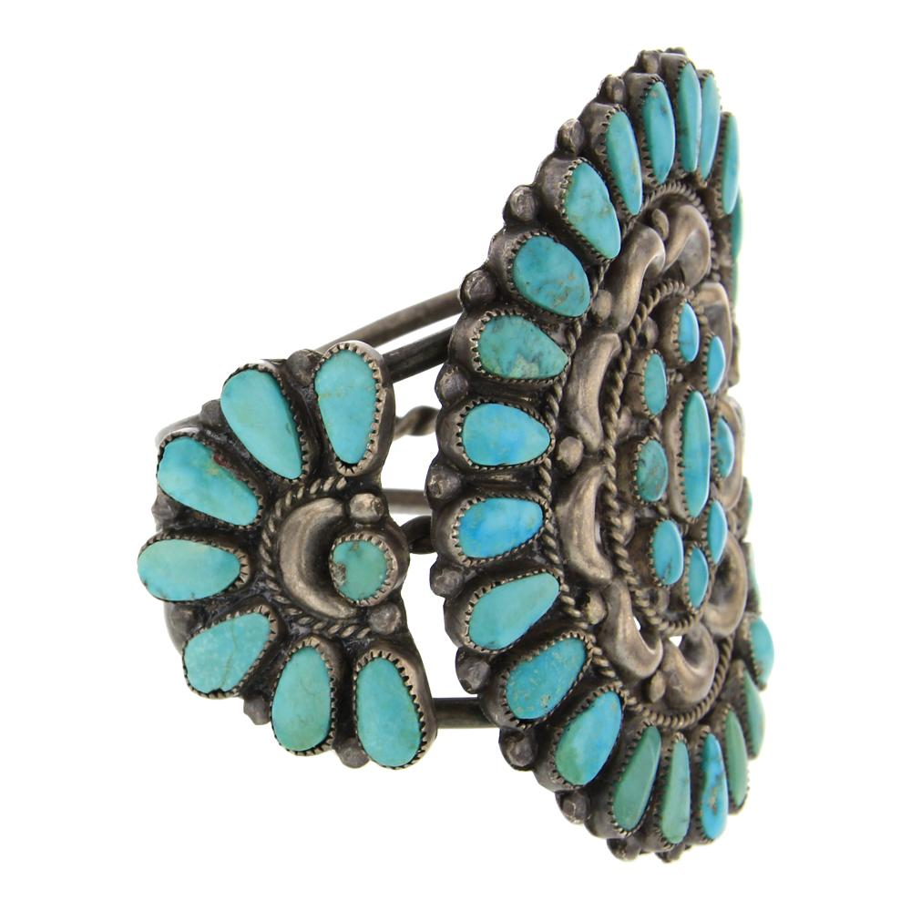 Old Pawn Turquoise Traditional Cluster Bracelet