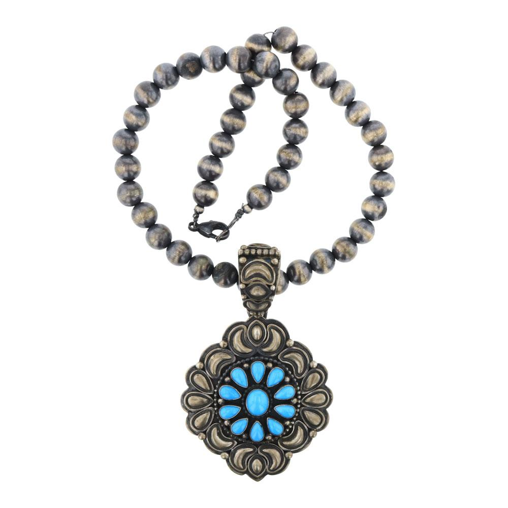 Ray Bennett Vintage Sleeping Beauty Turquoise Bump out Pendant on Navajo Pearls Necklace