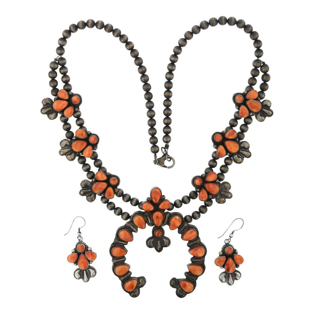 Vintage Spiny Oyster Squash Blossom Necklace & Earrings Set