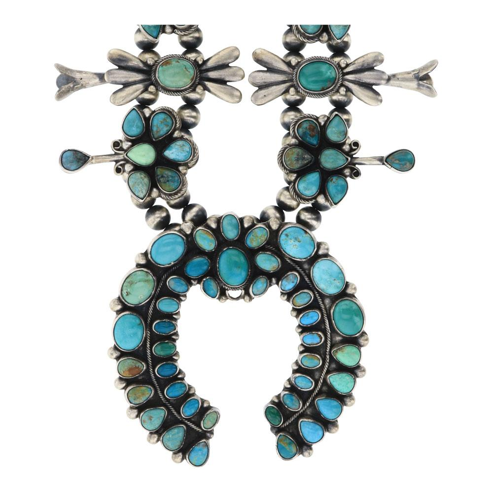 Vintage Intricate Nevada Turquoise Cluster Squash Blossom Necklace