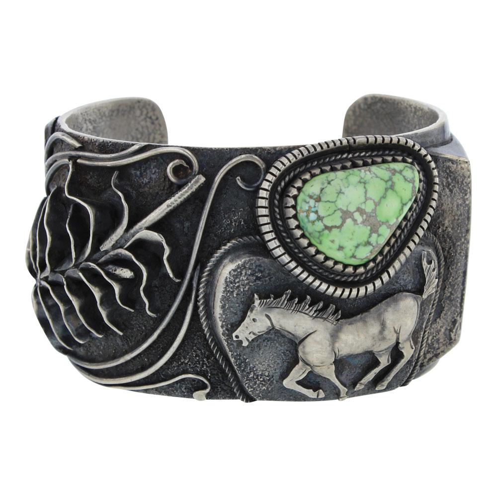 Larry Martinez Chavez Vintage Carrico Lake Turquoise Horse & Corn Wide Cuff Bracelet