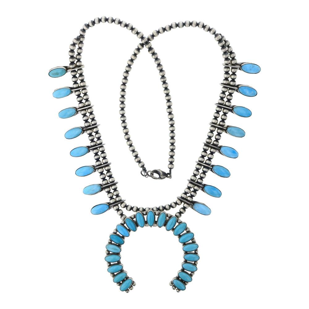 Kingman Turquoise Intricate Squash Blossom Necklace