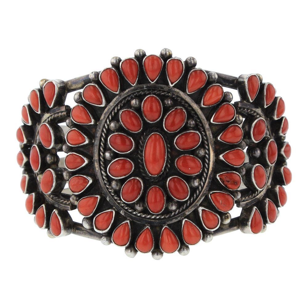 Darrin Livingston Vintage Ox Blood Mediterranean Coral Cluster Cuff Bracelet