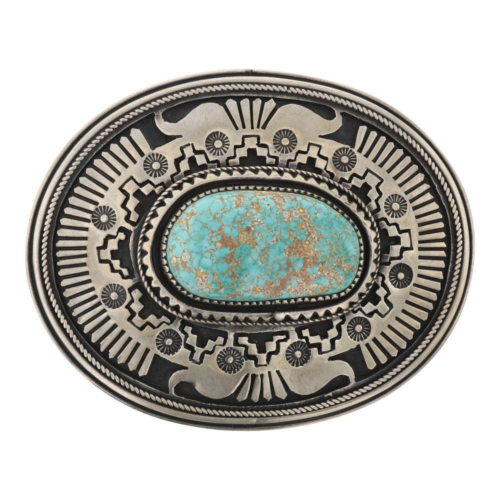 Larry Martinez Chavez Godber's Turquoise Large Belt Buckle