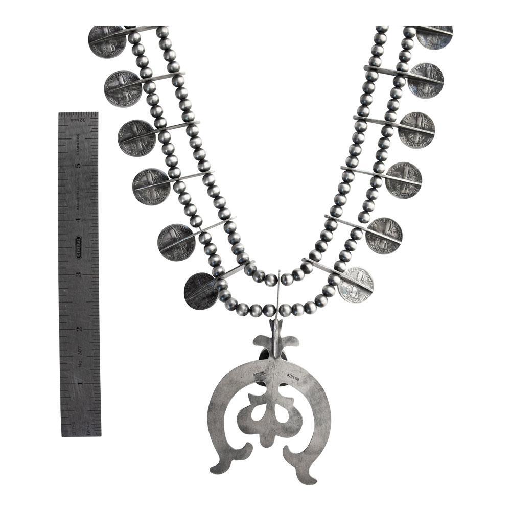 R Chee Vintage Silver Mercury Dimes Squash Blossom Necklace