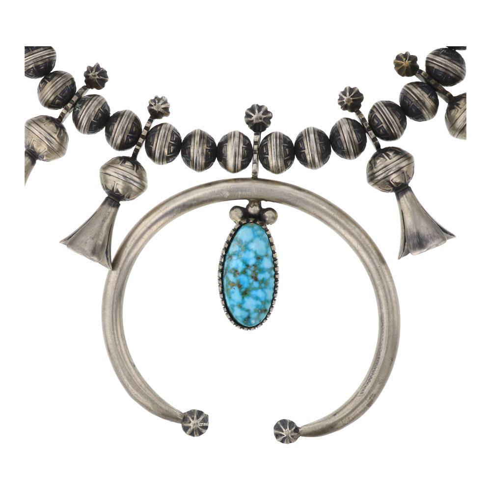 Marie Bahe Vintage Kingman Turquoise Squash Blossom Necklace