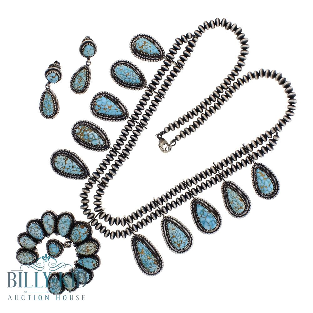 Mark Yazzie High Grade Spider Web Natural Number Eight Turquoise Squash Blossom Necklace & Earrings Set