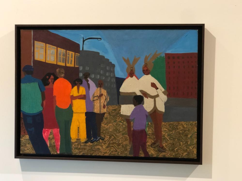 Dindga McCannon, b. 1947, Festival in Harlem, Oil and Fabric Collage on canvas, 24 x 34 inches