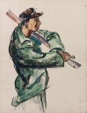 Charles White, 1918-1979, Portrait of a Man in a Green Jacket, Watercolor on cream wove paper, 7.25 x 9.5 inches