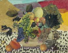Allen Stringfellow, 1923-2004, Untitled (Still Life), Mixed media collage with gold leaf, 16 x 20 inches