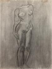 Charles White, 1918-1979, Life Drawing #8, Charcoal on paper, 45.5 x 36 inches