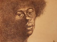 Charles White, 1918-1979, Abide, Colored etching, 9 x 11.75 inches (image)