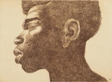 Charles White, 1918-1979, Untitled (Head of a Man in Profile)